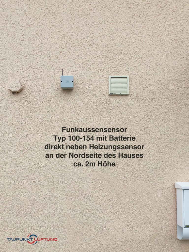 Hauswand mit Funkaußensensor