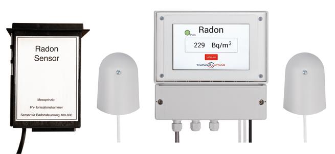 Produktpräsentationsfoto der Radon Lüftung mit blauer Frontfolie