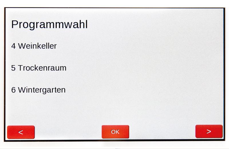 Programmauswahl der Universal Lüftung Touch