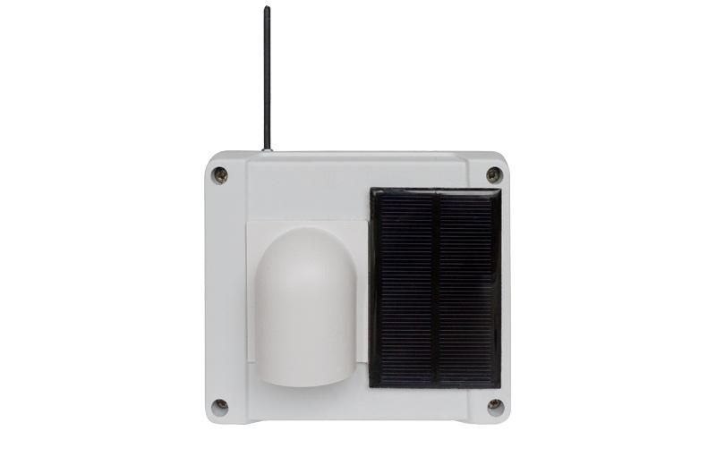 Funkaußensensor mit Regenschutzhaube und Solarzelle