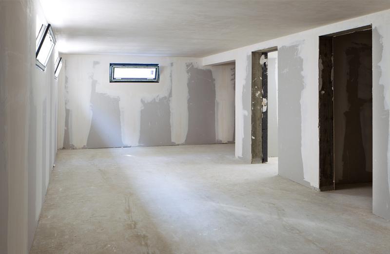 Ein Kellerraum, der saniert wird